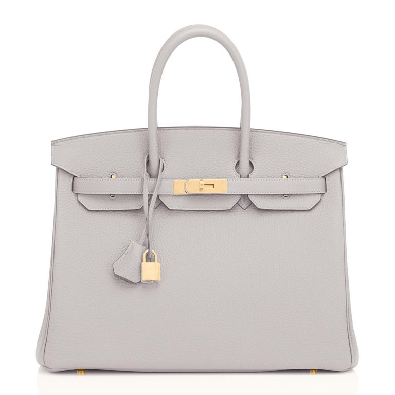 Hermes Birkin 35cm Gris Perle Pearl Gray Gold Hardware Y Stamp, 2020 In New Condition For Sale In New York, NY
