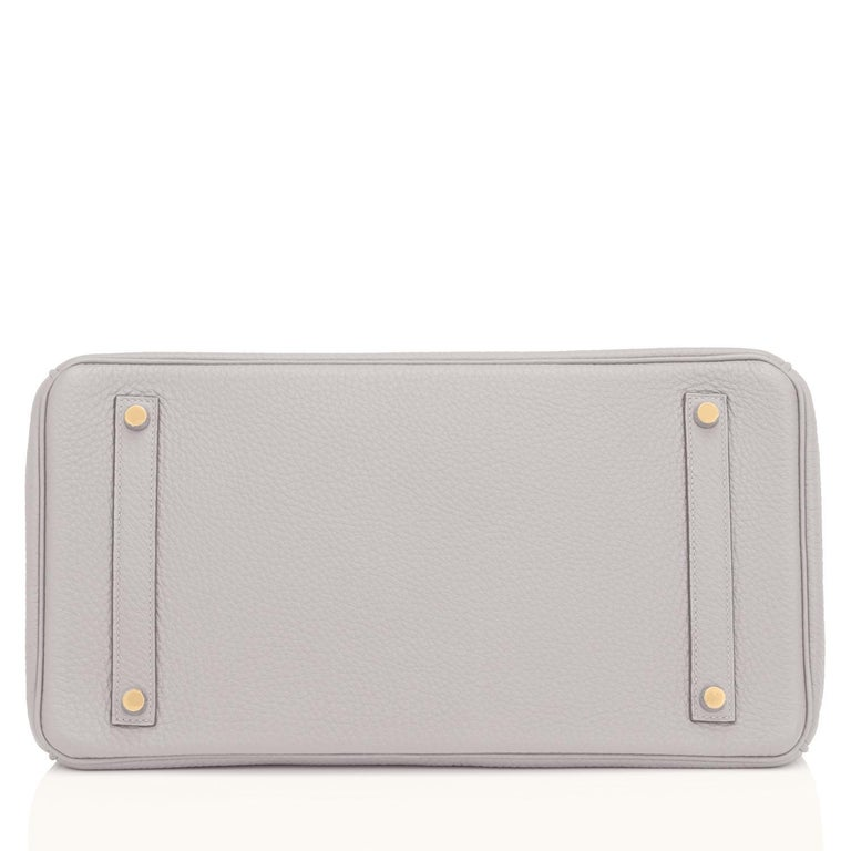 Hermes Birkin 35cm Gris Perle Pearl Gray Gold Hardware Y Stamp, 2020 For Sale 5