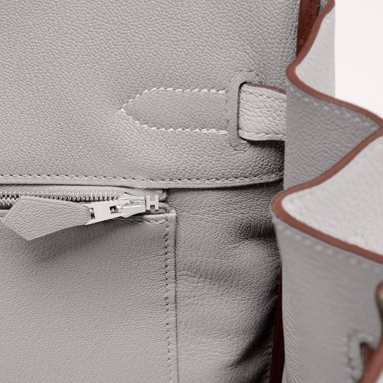 Hermes Birkin 35cm Gris Perle Togo Pearl Gray Palladium Hardware Y Stamp, 2020 For Sale 7