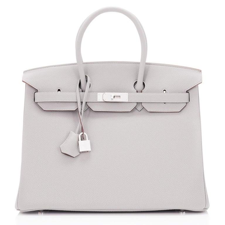 Hermes Birkin 35cm Gris Perle Togo Pearl Gray Palladium Hardware Y Stamp, 2020 In New Condition For Sale In New York, NY