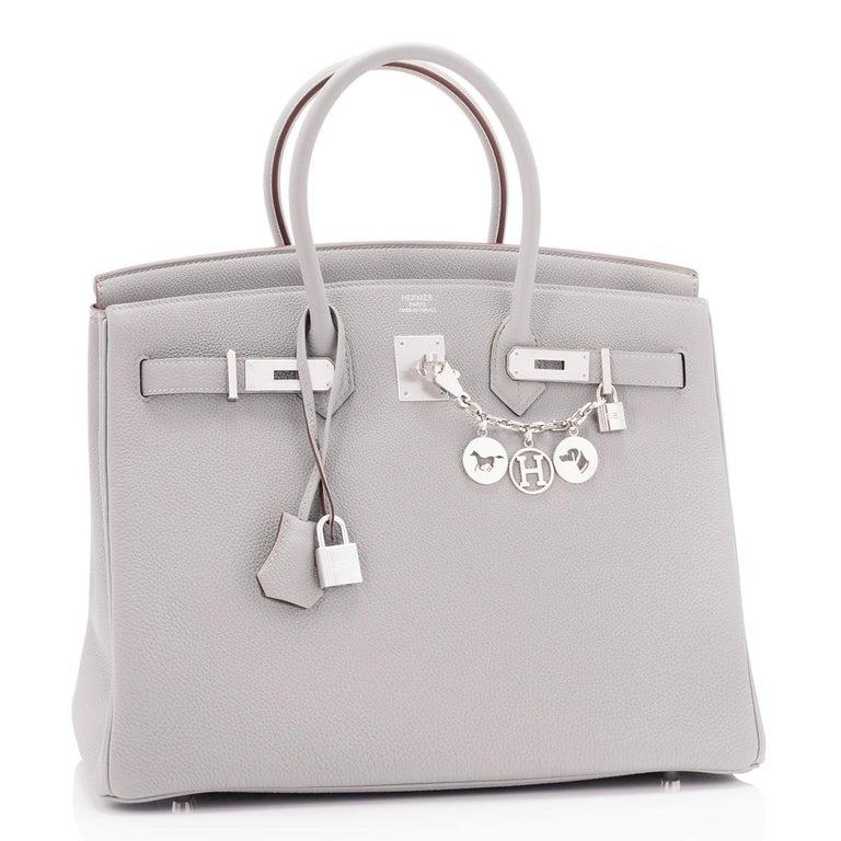 Women's or Men's Hermes Birkin 35cm Gris Perle Togo Pearl Gray Palladium Hardware Y Stamp, 2020 For Sale