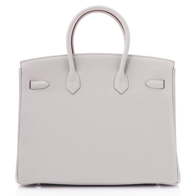 Hermes Birkin 35cm Gris Perle Togo Pearl Gray Palladium Hardware Y Stamp, 2020 For Sale 3