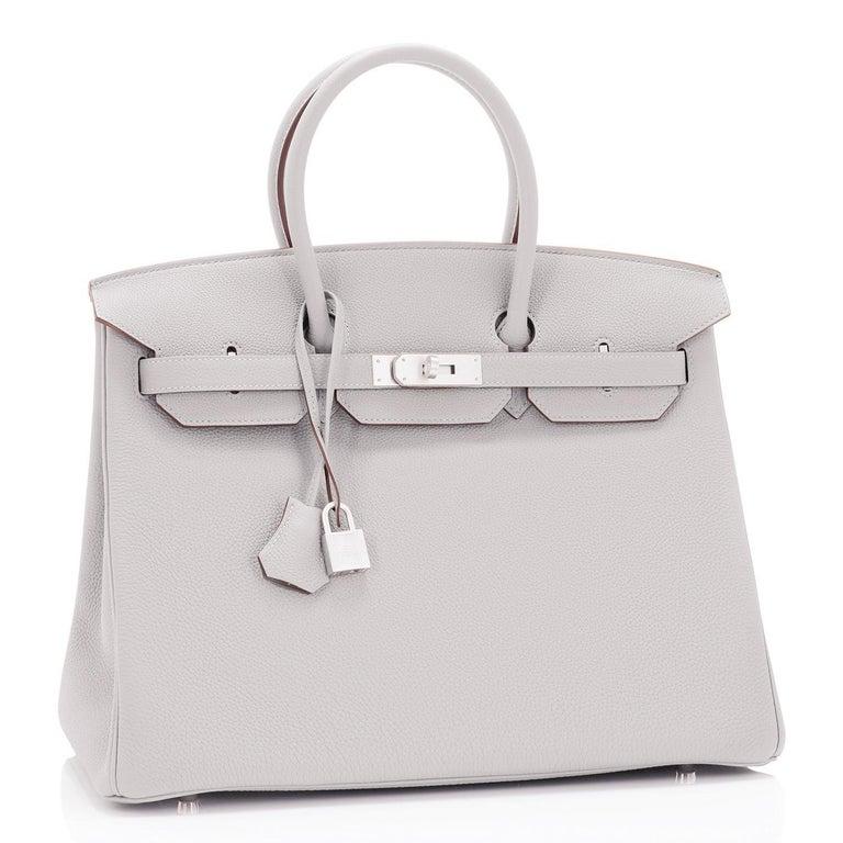 Hermes Birkin 35cm Gris Perle Togo Pearl Gray Palladium Hardware Y Stamp, 2020 For Sale 4
