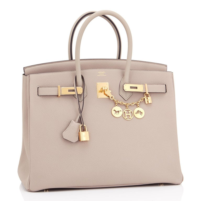 Hermes Gris Tourterelle 35cm Dove Grey Togo Birkin Gold Tote Bag  Extremely rare Store Fresh Brand New, Store Fresh Gris Tourterelle Birkin 35cm! Brand New in Box. Store fresh. Pristine Condition (with plastic on hardware). Perfect gift! Comes in