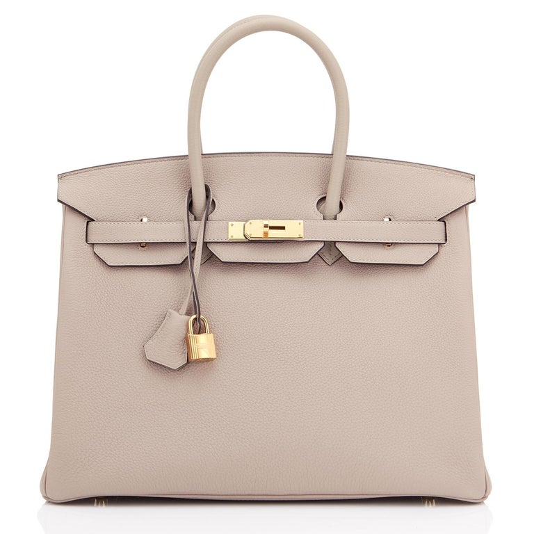 Hermes Birkin 35cm Gris Tourterelle Dove Grey Togo Gold Hardware In New Condition For Sale In New York, NY