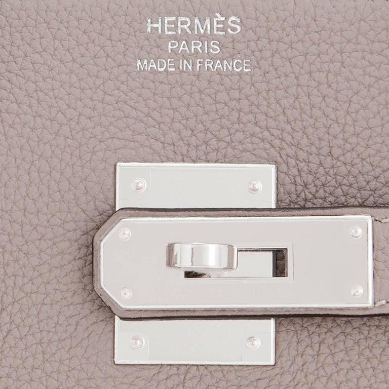 Hermes Birkin 35cm Gris Tourterelle Dove Grey Togo Palladium Bag NEW RARE For Sale 7