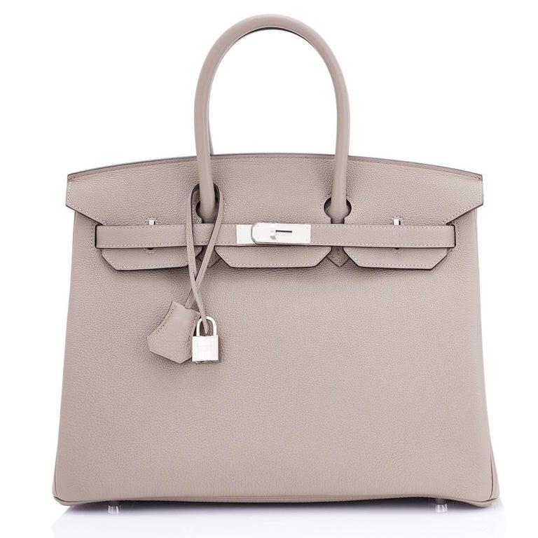 Beige Hermes Birkin 35cm Gris Tourterelle Dove Grey Togo Palladium Bag NEW RARE For Sale
