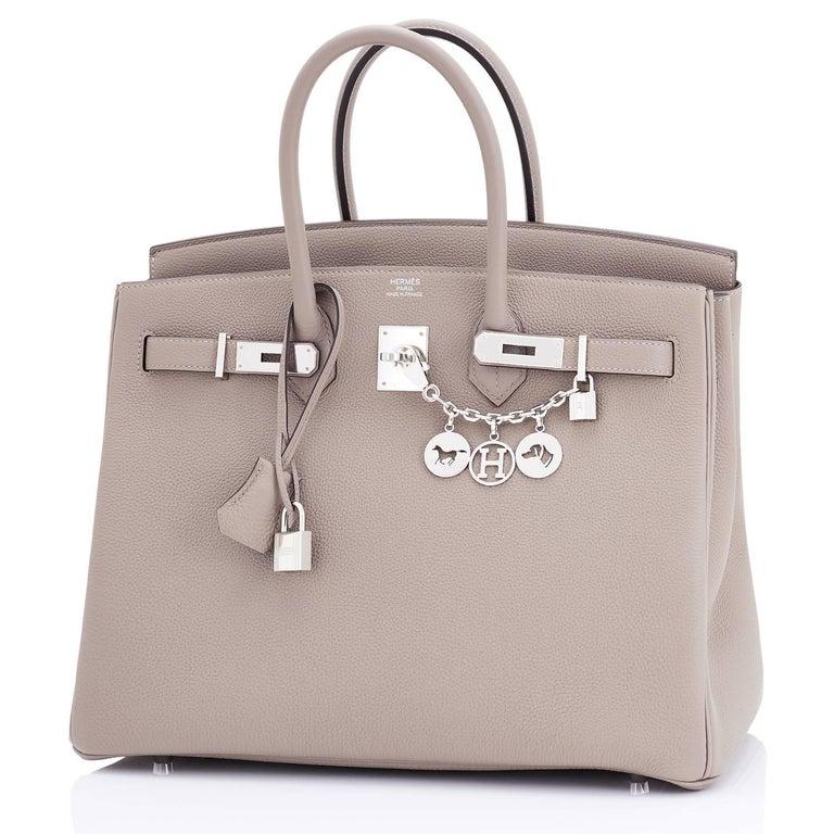 Hermes Birkin 35cm Gris Tourterelle Dove Grey Togo Palladium Bag NEW RARE In New Condition For Sale In New York, NY