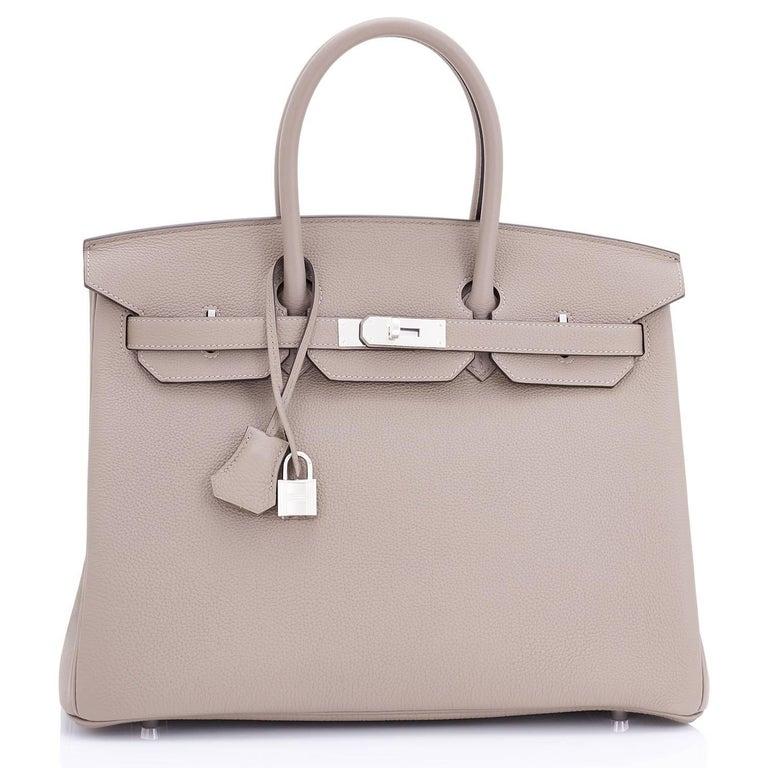Women's or Men's Hermes Birkin 35cm Gris Tourterelle Dove Grey Togo Palladium Bag NEW RARE For Sale