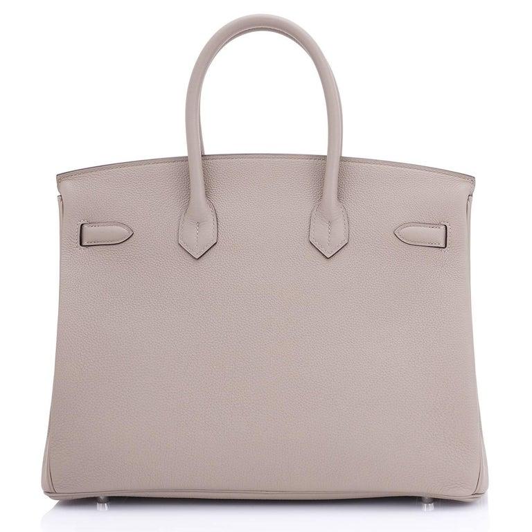 Hermes Birkin 35cm Gris Tourterelle Dove Grey Togo Palladium Bag NEW RARE For Sale 1
