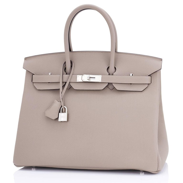 Hermes Birkin 35cm Gris Tourterelle Dove Grey Togo Palladium Bag NEW RARE For Sale 2