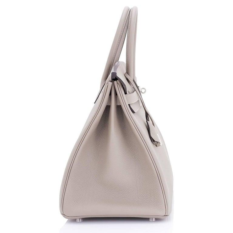 Hermes Birkin 35cm Gris Tourterelle Dove Grey Togo Palladium Bag NEW RARE For Sale 3