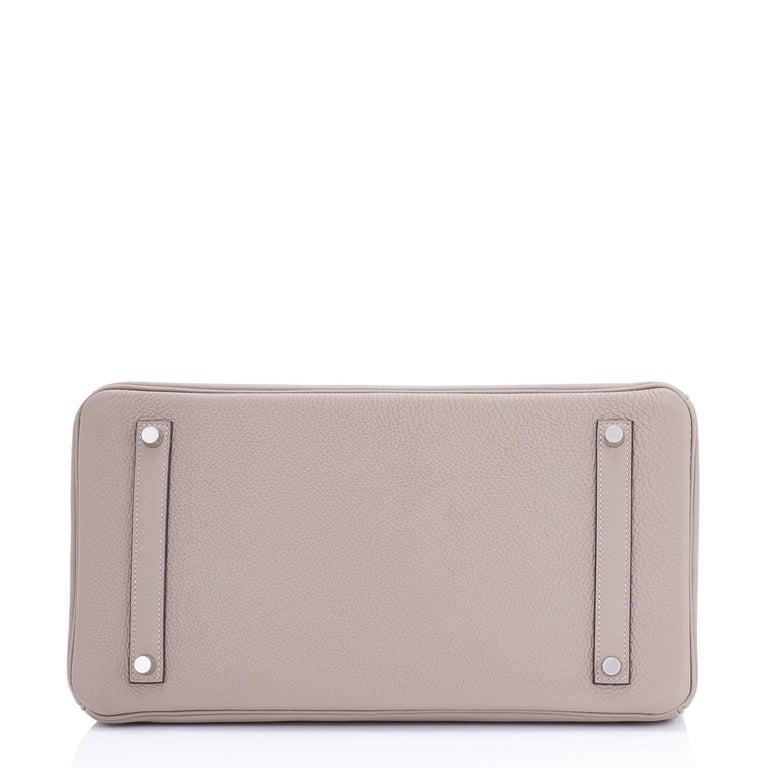 Hermes Birkin 35cm Gris Tourterelle Dove Grey Togo Palladium Bag NEW RARE For Sale 4