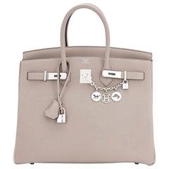 Hermes Birkin 35cm Gris Tourterelle Dove Grey Togo Palladium Bag NEW RARE