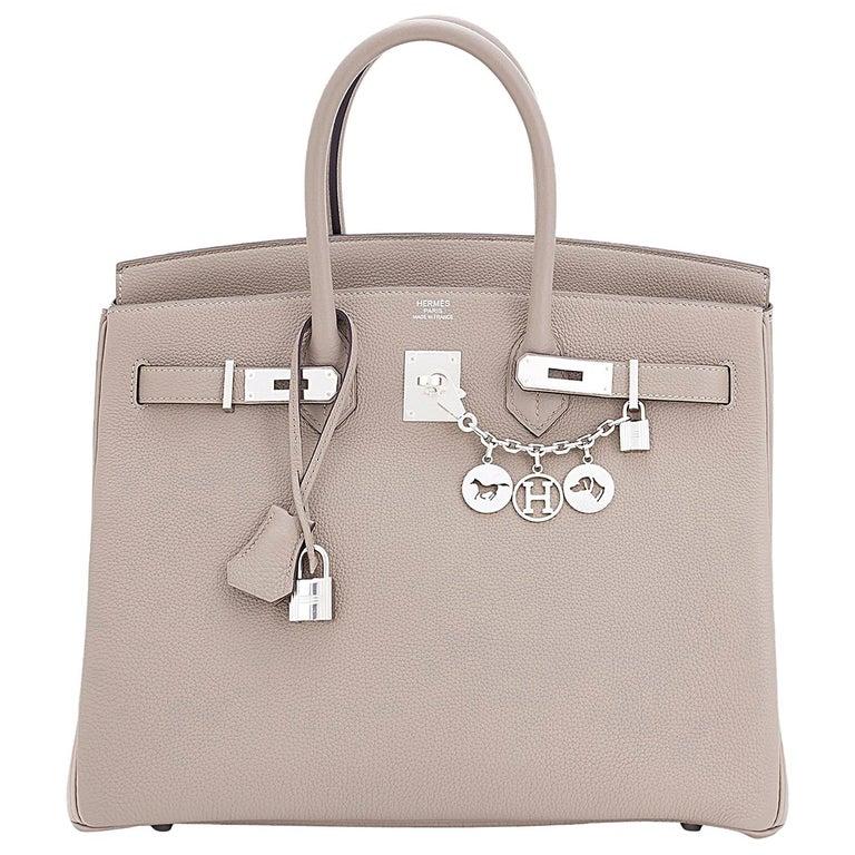 Hermes Birkin 35cm Gris Tourterelle Dove Grey Togo Palladium Bag NEW RARE For Sale