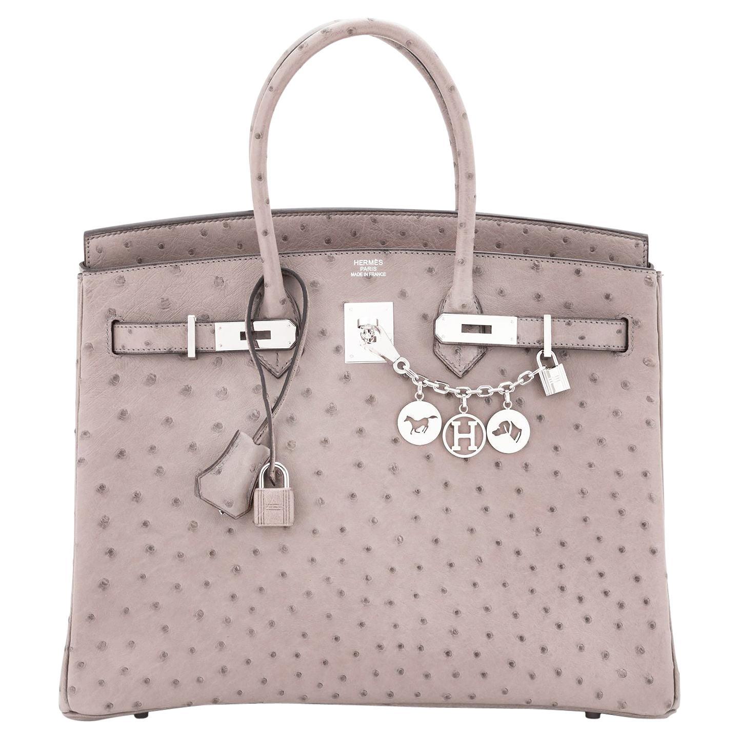 Hermes Birkin 35cm Gris Tourterelle Ostrich Dove Grey Bag NEW ULTRA RARE
