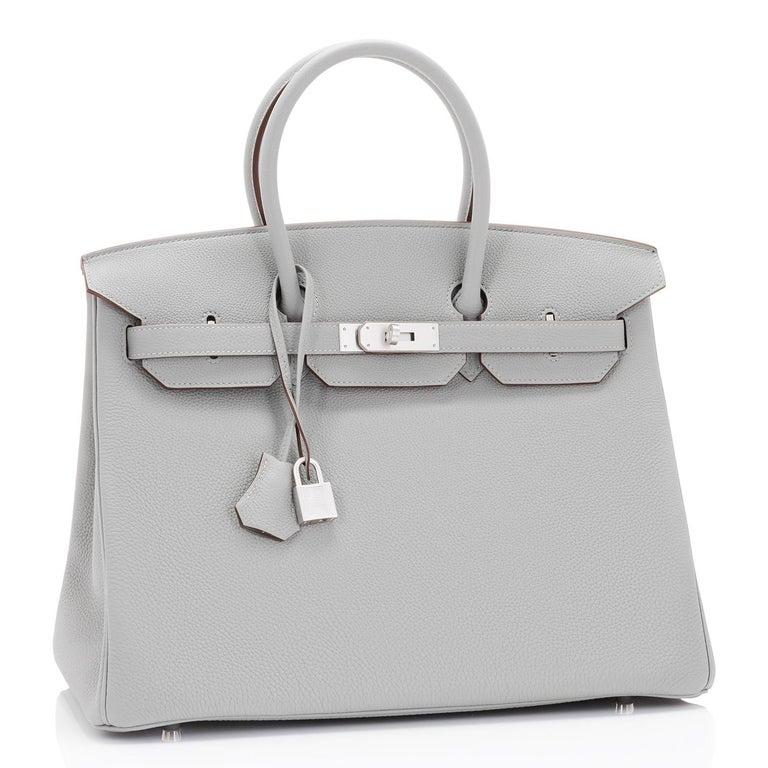 Hermes Birkin 35cm HSS Bi-Color Gris Mouette Etain Horseshoe Bag Special Order For Sale 8