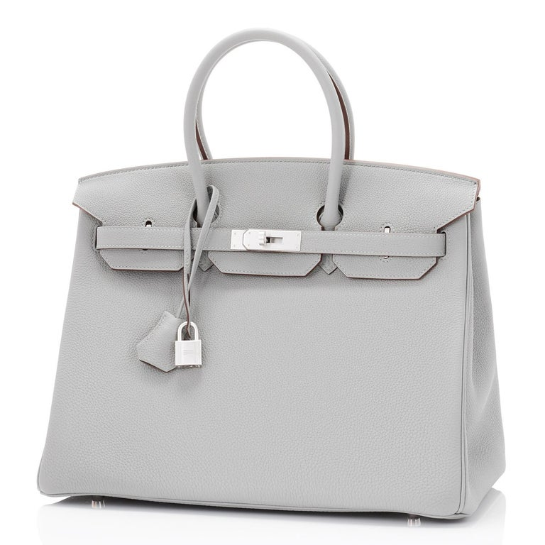 Hermes Birkin 35cm HSS Bi-Color Gris Mouette Etain Horseshoe Bag Special Order For Sale 9