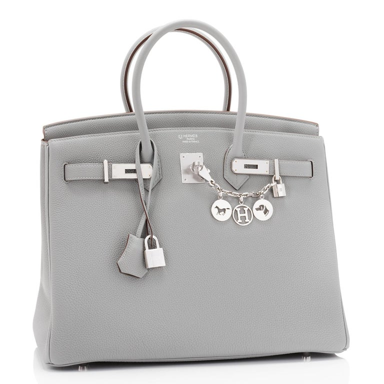 Hermes Birkin 35cm HSS Bi-Color Gris Mouette Etain Horseshoe Bag Special Order For Sale 2