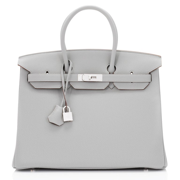 Hermes Birkin 35cm HSS Bi-Color Gris Mouette Etain Horseshoe Bag Special Order For Sale 3