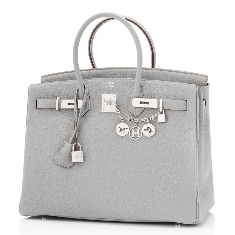 Hermes Birkin 35cm HSS Bi-Color Gris Mouette Etain Horseshoe Bag Special Order For Sale 4