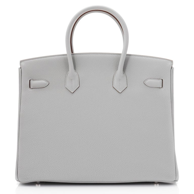 Hermes Birkin 35cm HSS Bi-Color Gris Mouette Etain Horseshoe Bag Special Order For Sale 5