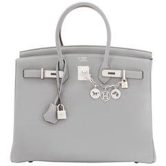Hermes Birkin 35cm HSS Bi-Color Gris Mouette Etain Horseshoe Bag Special Order