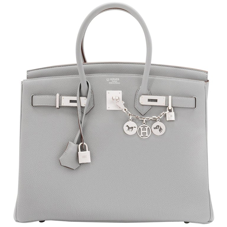 Hermes Birkin 35cm HSS Bi-Color Gris Mouette Etain Horseshoe Bag Special Order For Sale