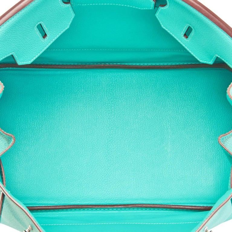 Hermes Birkin 35cm Lagoon Blue Togo Palladium Hardware Bag RARE For Sale 6