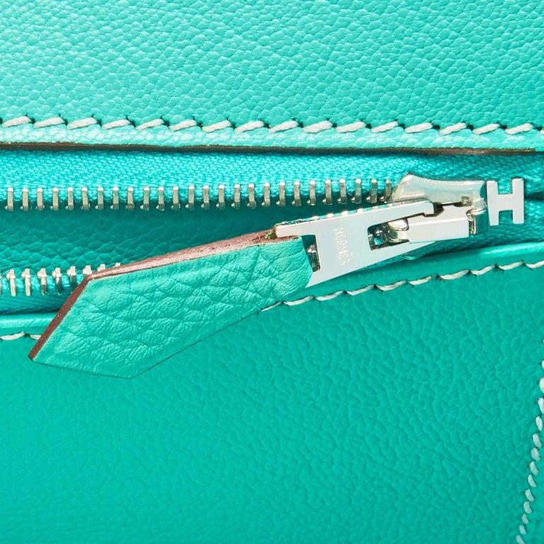 Hermes Birkin 35cm Lagoon Blue Togo Palladium Hardware Bag RARE For Sale 7