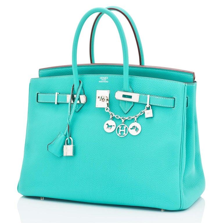Women's or Men's Hermes Birkin 35cm Lagoon Blue Togo Palladium Hardware Bag RARE For Sale