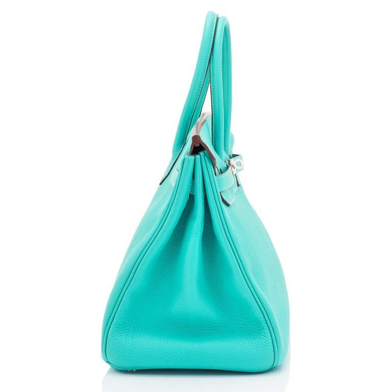 Hermes Birkin 35cm Lagoon Blue Togo Palladium Hardware Bag RARE For Sale 1