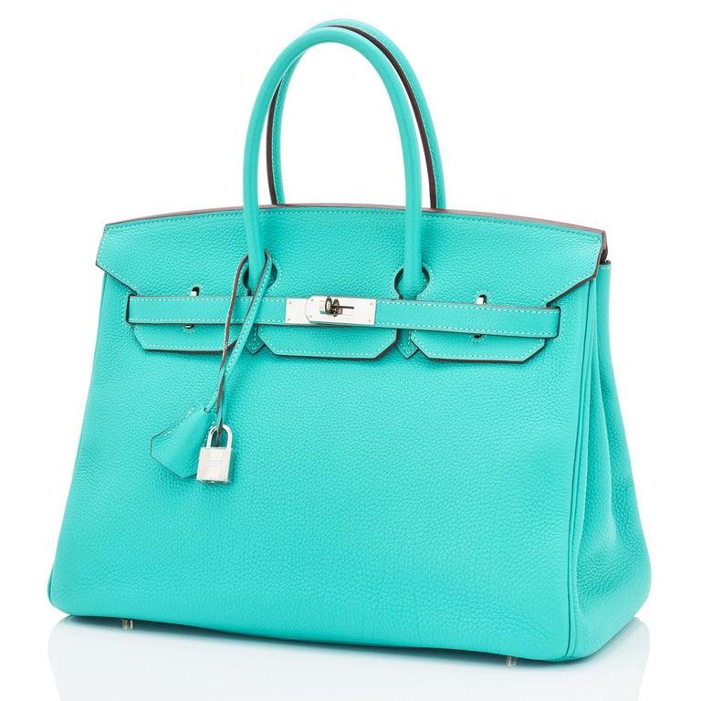 Hermes Birkin 35cm Lagoon Blue Togo Palladium Hardware Bag RARE For Sale 2