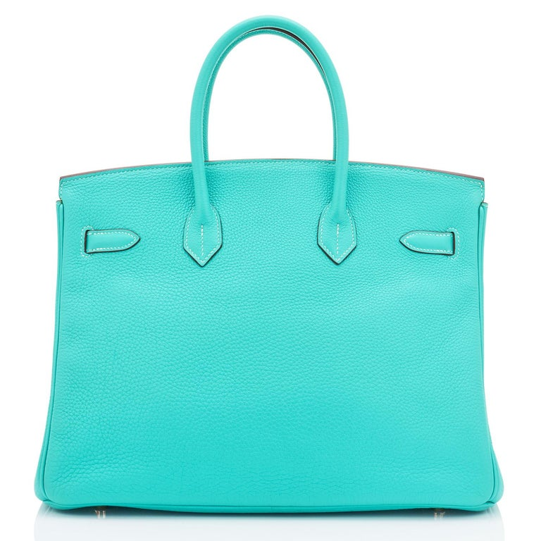 Hermes Birkin 35cm Lagoon Blue Togo Palladium Hardware Bag RARE For Sale 3