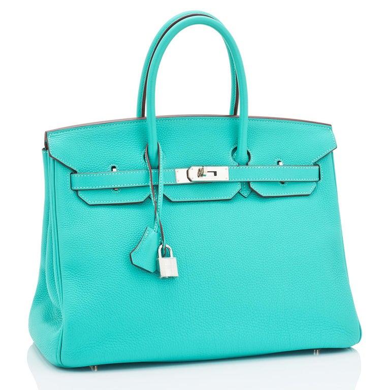 Hermes Birkin 35cm Lagoon Blue Togo Palladium Hardware Bag RARE For Sale 4