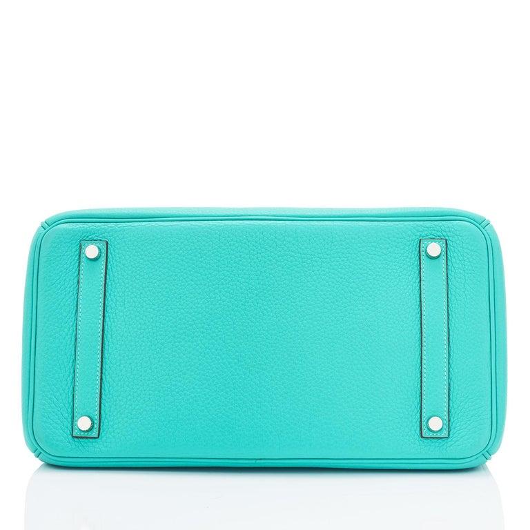 Hermes Birkin 35cm Lagoon Blue Togo Palladium Hardware Bag RARE For Sale 5