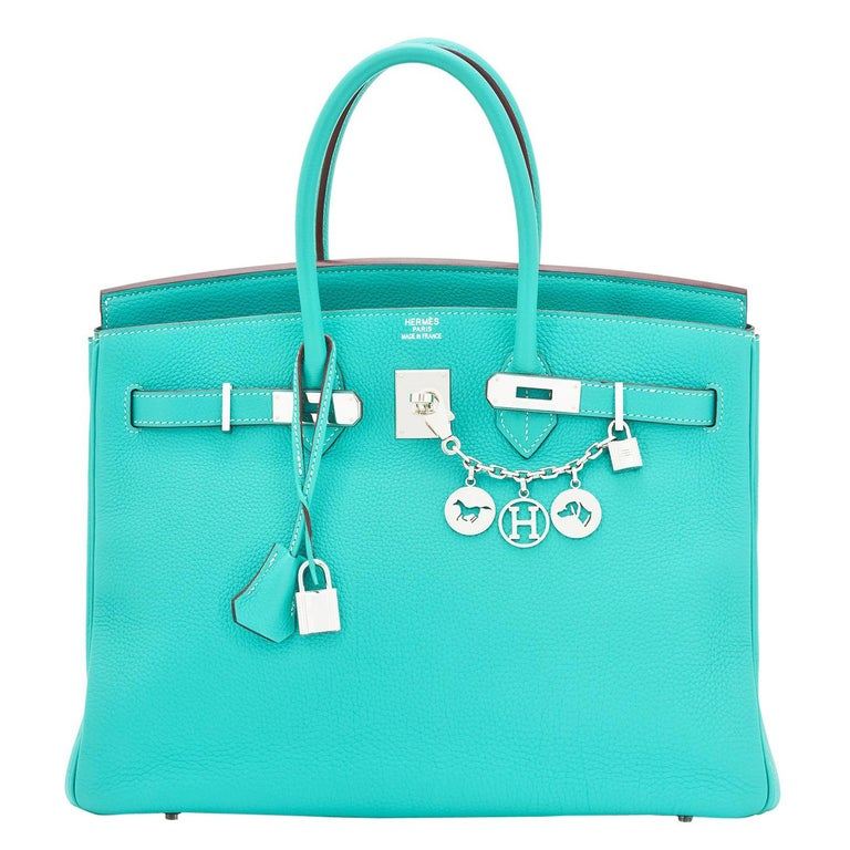 Hermes Birkin 35cm Lagoon Blue Togo Palladium Hardware Bag RARE For Sale
