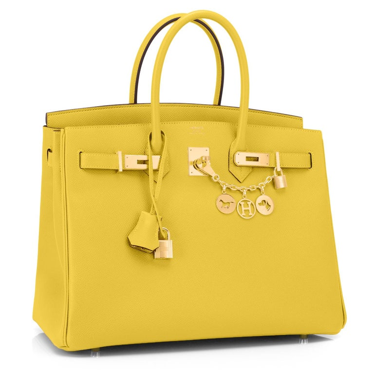 Guaranteed Authentic Hermes Lime 35cm Birkin Epsom Gold Hardware  Brand New in Box. Pristine condition (with plastic on hardware).  Perfect gift! Coming full set with keys, lock, clochette, a sleeper for the bag, rain protector, and orange Hermes