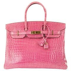 Hermes Birkin 35cm Pink Porosus Crocodile GHW