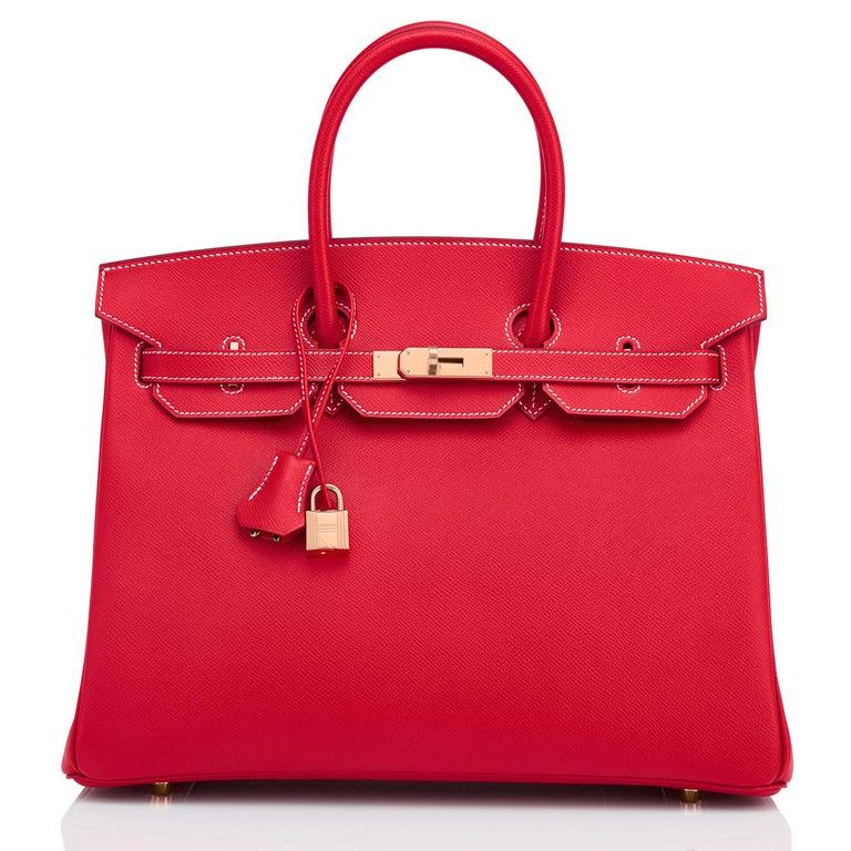 Hermes Birkin 35cm Rouge Casaque Blue Thalassa Bag Permabrass Candy Rare NEW For Sale 6