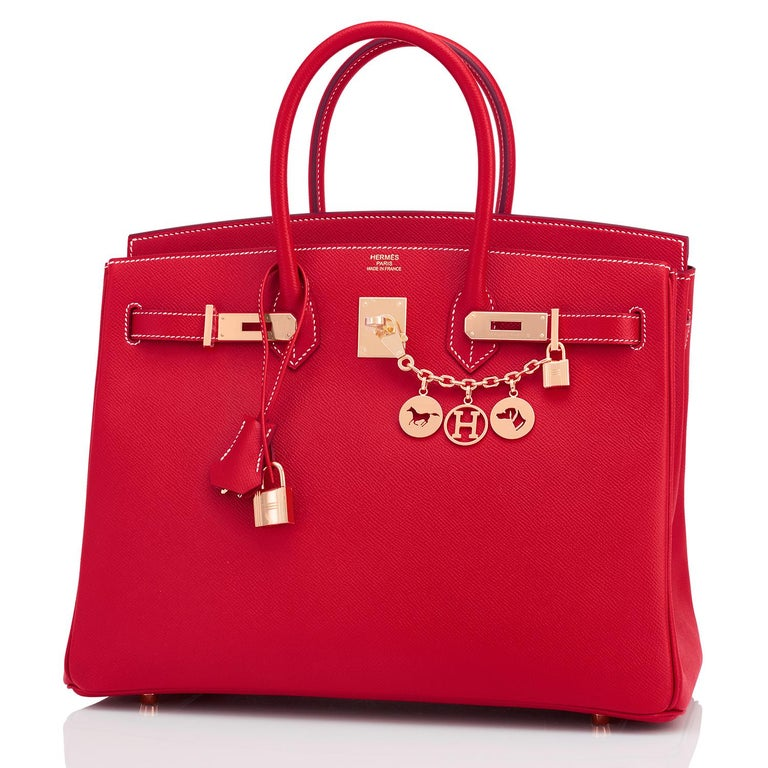 Hermes Birkin 35cm Rouge Casaque Blue Thalassa Bag Permabrass Candy Rare NEW In New Condition For Sale In New York, NY