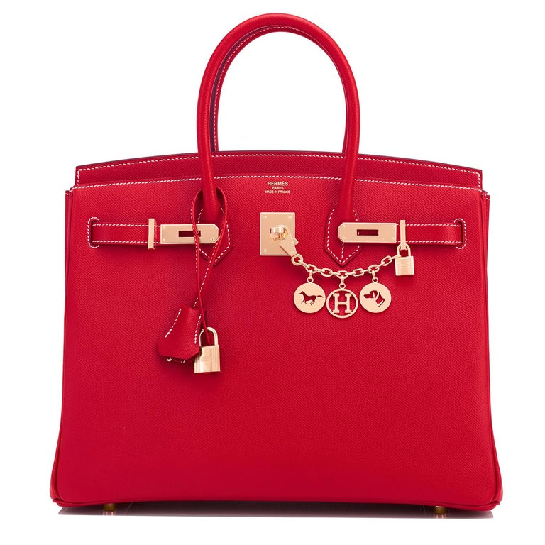 Women's or Men's Hermes Birkin 35cm Rouge Casaque Blue Thalassa Bag Permabrass Candy Rare NEW For Sale