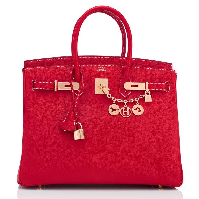 Hermes Birkin 35cm Rouge Casaque Blue Thalassa Bag Permabrass Candy Rare NEW For Sale 1