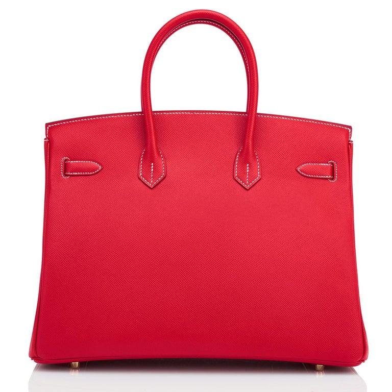 Hermes Birkin 35cm Rouge Casaque Blue Thalassa Bag Permabrass Candy Rare NEW For Sale 3