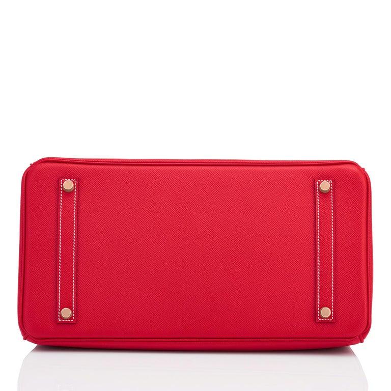 Hermes Birkin 35cm Rouge Casaque Blue Thalassa Bag Permabrass Candy Rare NEW For Sale 4