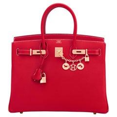 Hermes Birkin 35cm Rouge Casaque Blue Thalassa Bag Permabrass Candy Rare NEW