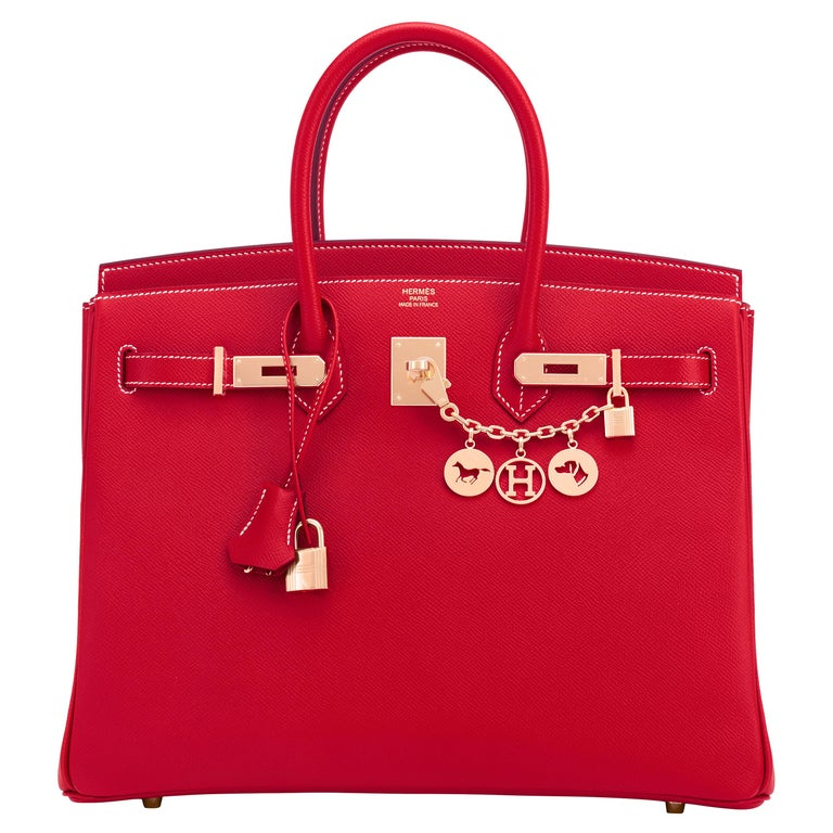 Hermes Birkin 35cm Rouge Casaque Blue Thalassa Bag Permabrass Candy Rare NEW For Sale