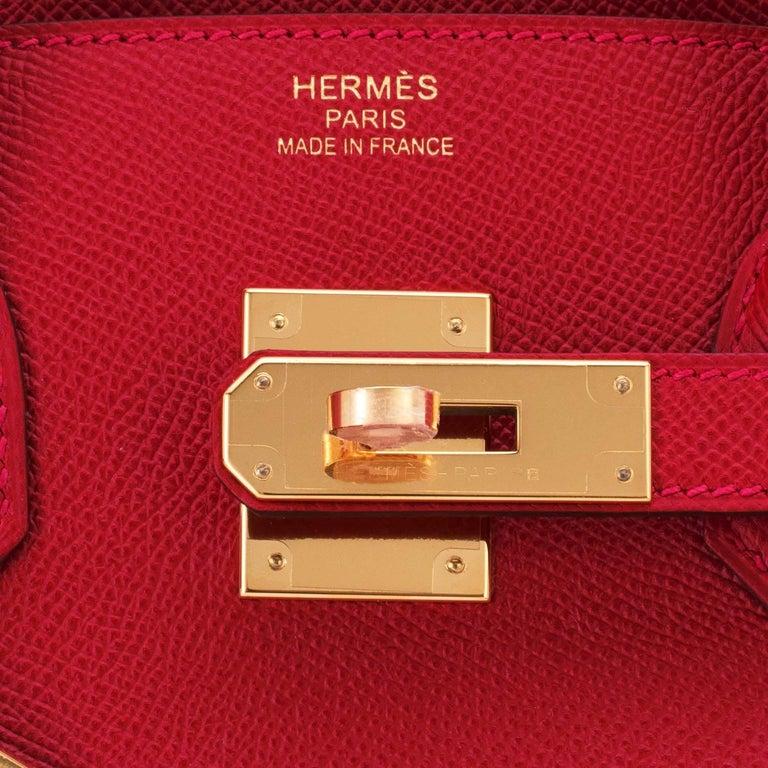 Hermes Birkin 35cm Rouge Casaque Lipstick Red Epsom Bag Gold Hardware NEW 6