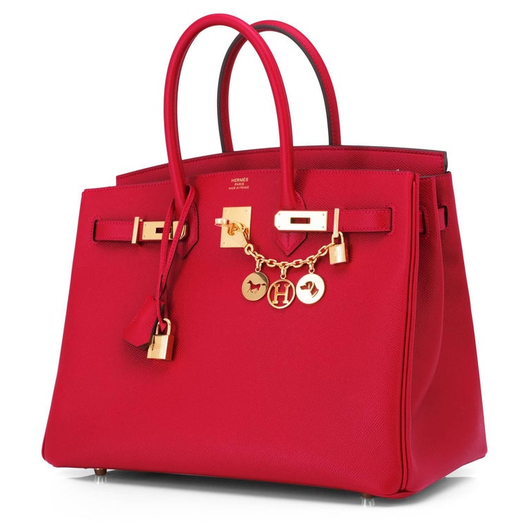 Hermes Birkin 35cm Rouge Casaque Red Epsom Gold Hardware  Rouge Casaque in 35cm is long discontinued and a very rare find! New or Never Worn. Pristine condition (with plastic on hardware).  Perfect gift! Coming full set with keys, lock, clochette, a