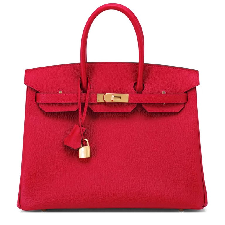 Hermes Birkin 35cm Rouge Casaque Lipstick Red Epsom Bag Gold Hardware NEW In New Condition In New York, NY